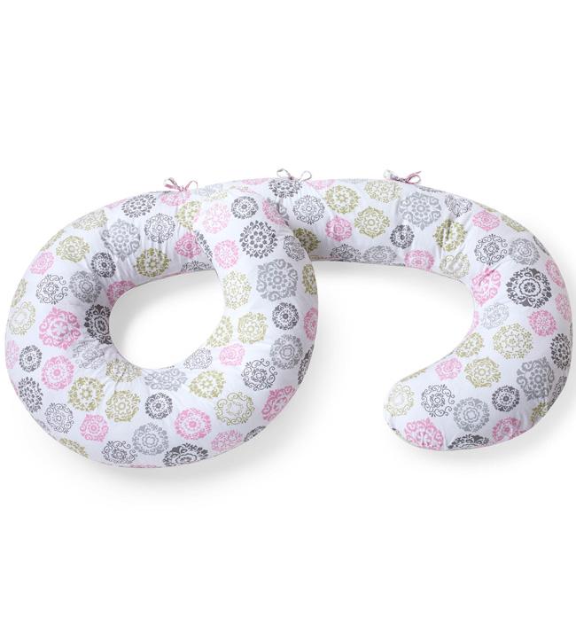 Наволочка на подушку беременных и родивших мам Bliss Comfort Fit Slip Cover с рисунком Medallion (белая с медальонами) (BornFree)