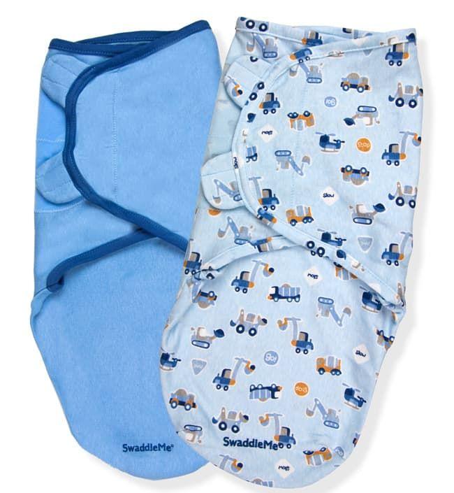 Summer Infant Конверты для пеленания на липучке 2 шт. SwaddleMe Transportation/Blue (синий/голубой с транспортом), размер L