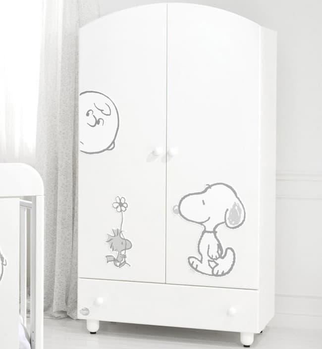 Шкаф Baby Expert Двустворчатый шкаф Snoopy белый/серебро