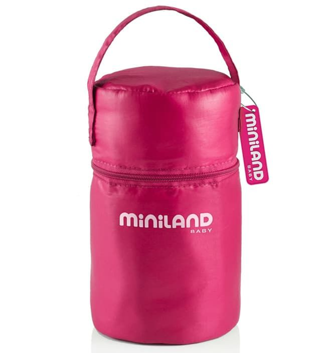 Термосумка с 2 мерными стаканчиками розовая (Miniland)
