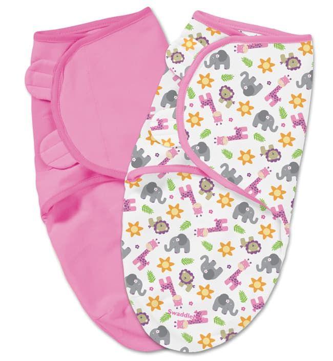 Summer Infant Конверты для пеленания на липучке 2 шт. SwaddleMe (розовый, белый/сафари), размер S/M