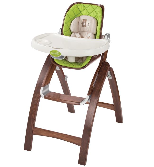 Стульчик для кормления Summer Infant Складной стульчик BentWood темное дерево summer infant люлька summer infant bentwood с электронной системой укачивания