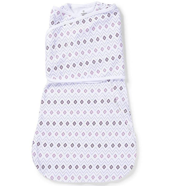 Конверт для пеленания на липучке SwaddleMe LoveSack, Белый/фиолетовый орнамент (размер s/m)