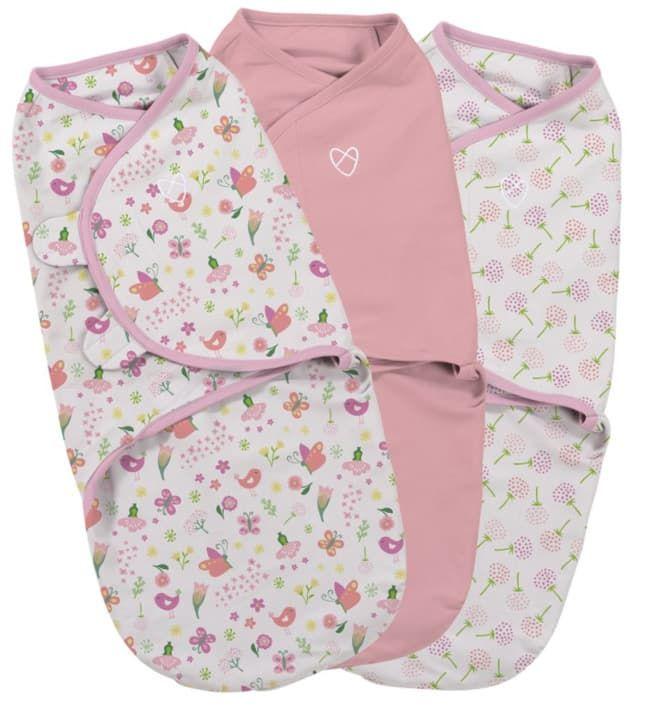 Summer Infant Набор конвертов для пеленания на липучке SwaddleMe цветочный сад (3 шт.), размер S/M