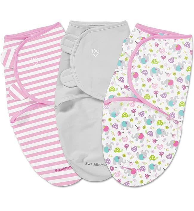 Набор конвертов для пеленания на липучке SwaddleMe (3 шт.), Розовый в полоску/серый/цветы (размер s/m)