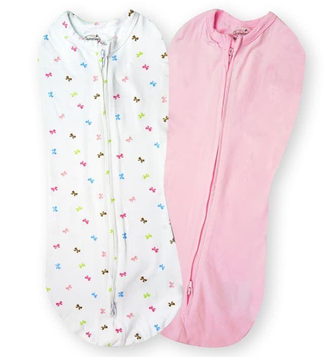 Конверт Summer Infant Конверты для пеленания новорожденных на молнии SwaddlePod розовый/белый с бантиками Baby Bows (2шт.)