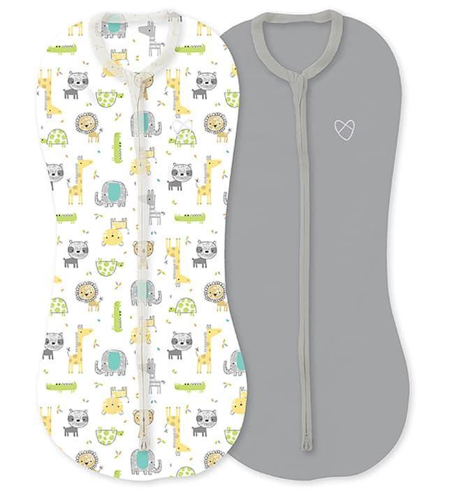 Конверт Summer Infant Конверты для пеленания новорожденных на молнии SwaddlePod серый/сафари (2шт.)