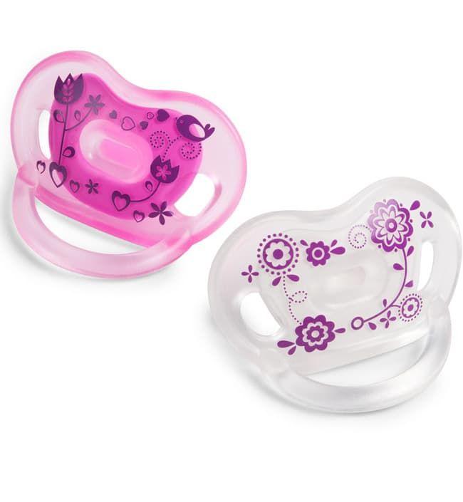 Ортодонтическая соска-пустышка розовая (+6 мес) (BornFree)