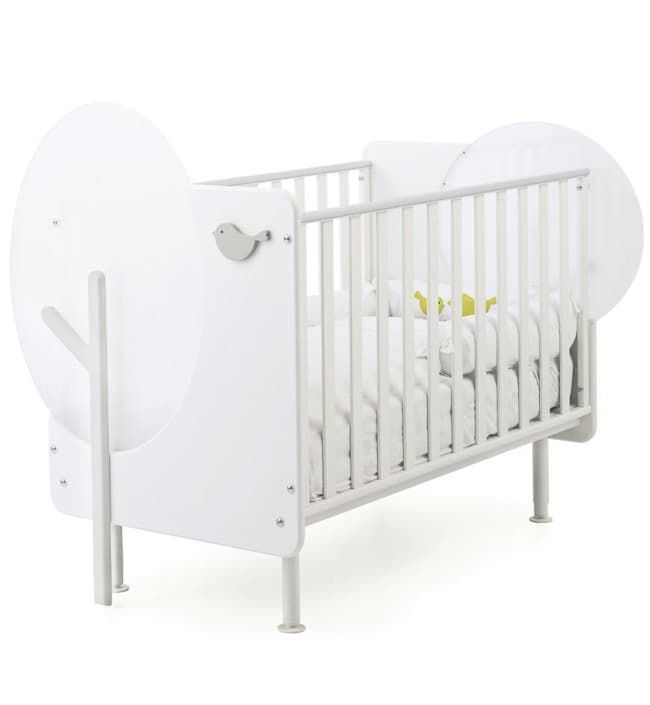 Детская кровать Baby Expert Bosco с реечными бортамиКровати<br>Детская кроватка Bosco с реечными бортиками белый/серый<br><br>Цвет: Белый/серый<br>Габариты ( В х Ш х Д ), см: 113x98x135