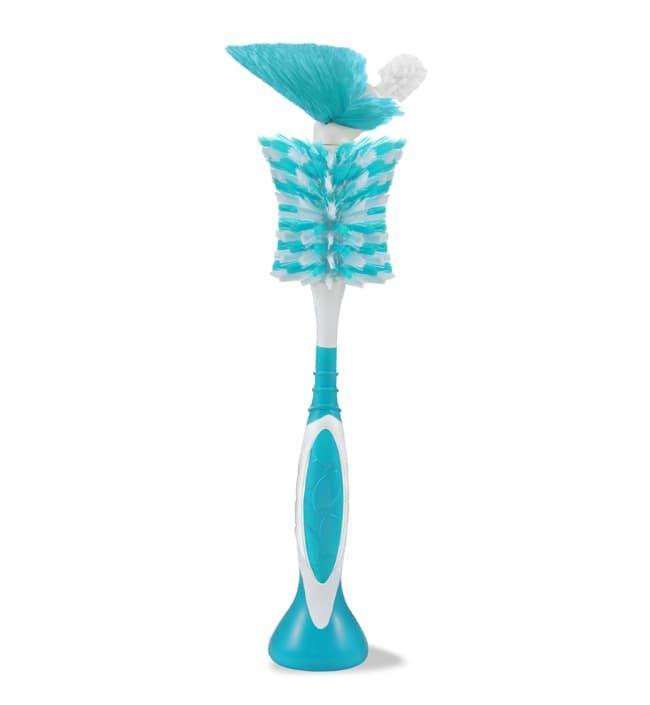 BornFree Щетка BornFree breeze™ 2-в-1 для мытья бутылочек и сосок бело-голубая bornfree щетка для мытья бутылочек breeze
