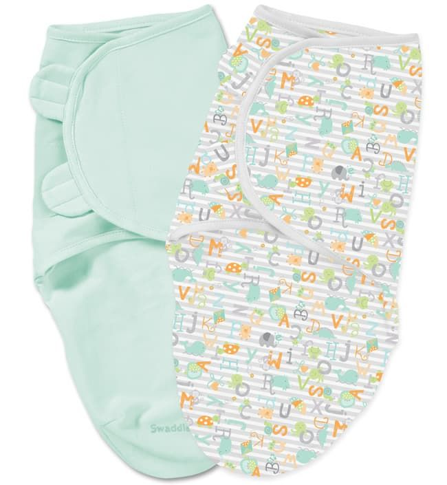 Summer Infant Конверты для пеленания на липучке 2 шт. SwaddleMe (мятный, белый с алфавитом), размер L