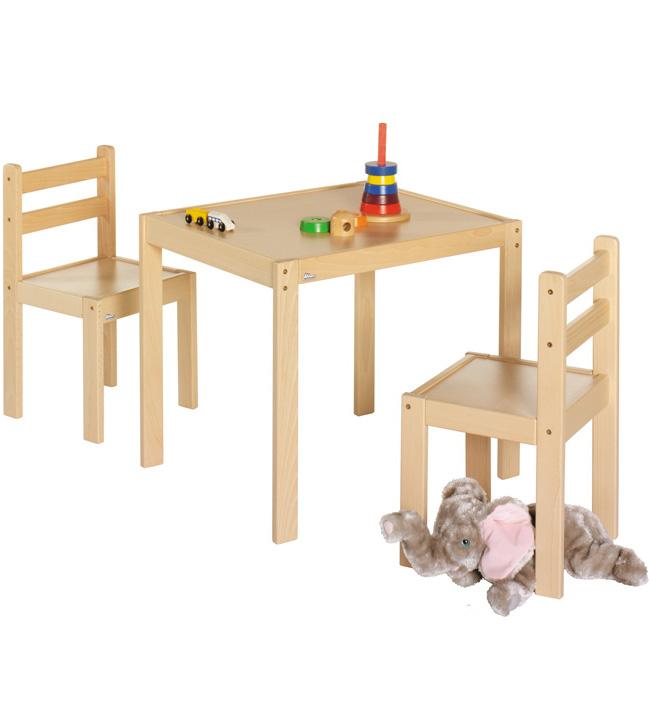 Комплект игровой мебели Geuther Kalle&amp;CoИгровая мебель, качалки, беговелы<br>Комплект игровой мебели Kalle&amp;Co (стол и 2 стула)<br><br>Цвет: Натуральный<br>Габариты ( В х Ш х Д ), см: стол 55x64x53
