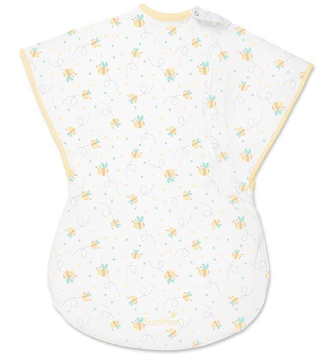 Хлопковый спальный мешок SwaddleMe ComfortMe Bees Knees (белый с пчелками), размер S/M (Summer Infant)